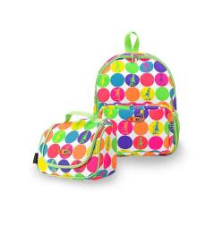 Maxi Micro batoh a svačinová taška - neon dots