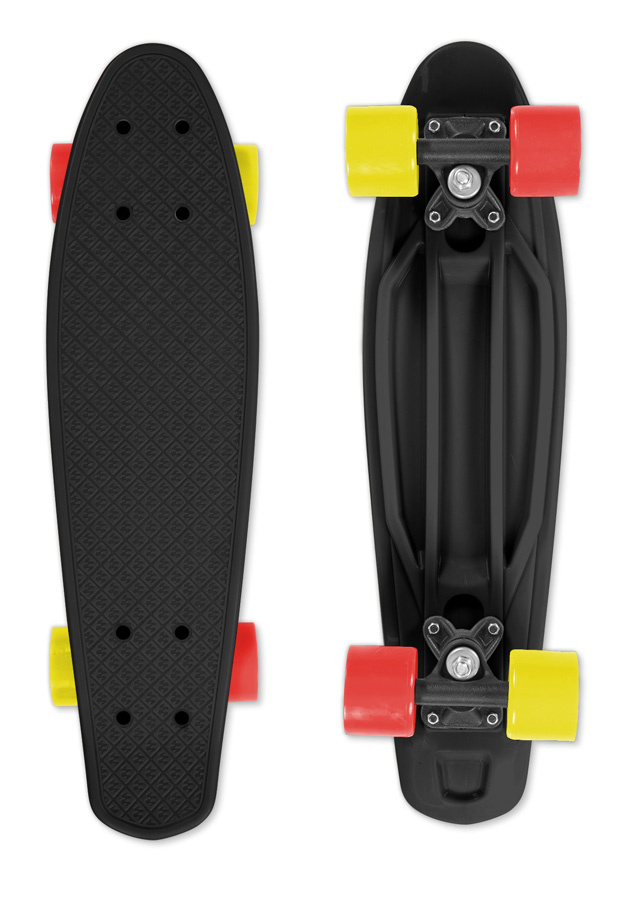 Skateboard FIZZ BOARD Black Red-Yellow, černý