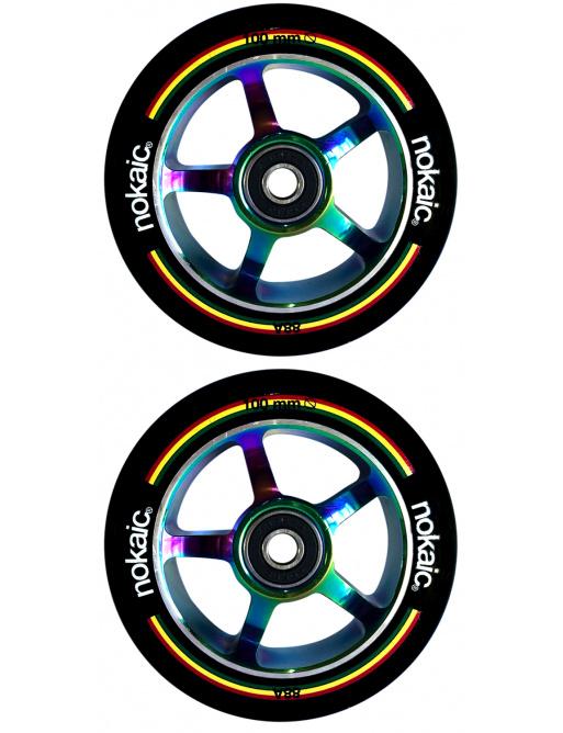 Kolečka Nokaic 100mm BLACK/RAINBOW 2ks