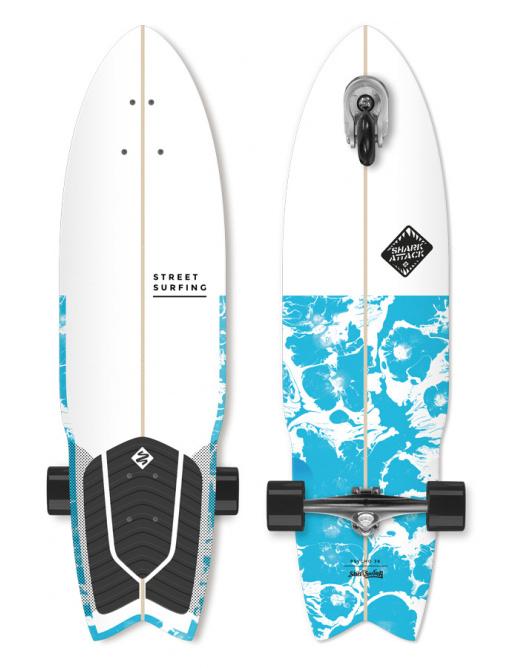 """Longboard Street Surfing SHARK ATTACK 36 """"Psycho Blue"""