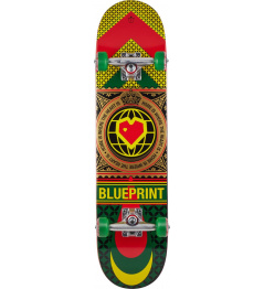 "Skateboard Blueprint Home Heart 7.625"" Rasta"