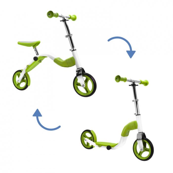 Scoobik Scooter und Reflektor in einem grünen