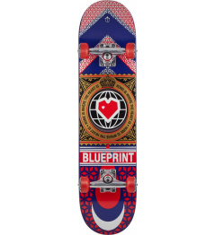 "Skateboard Blueprint Home Heart 7.75"" Red"