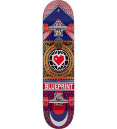 "Skateboard Blueprint Home Heart 7.75"" Red"