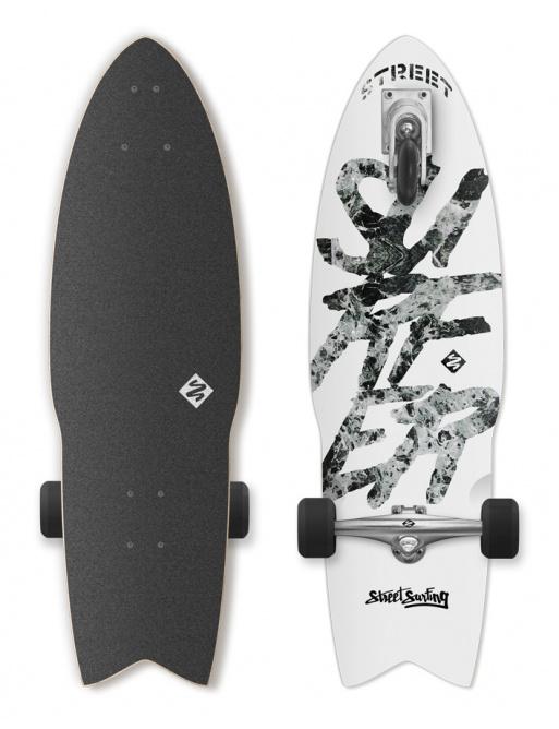 Longboard Street Surfing SHARK ATTACK Great bilý