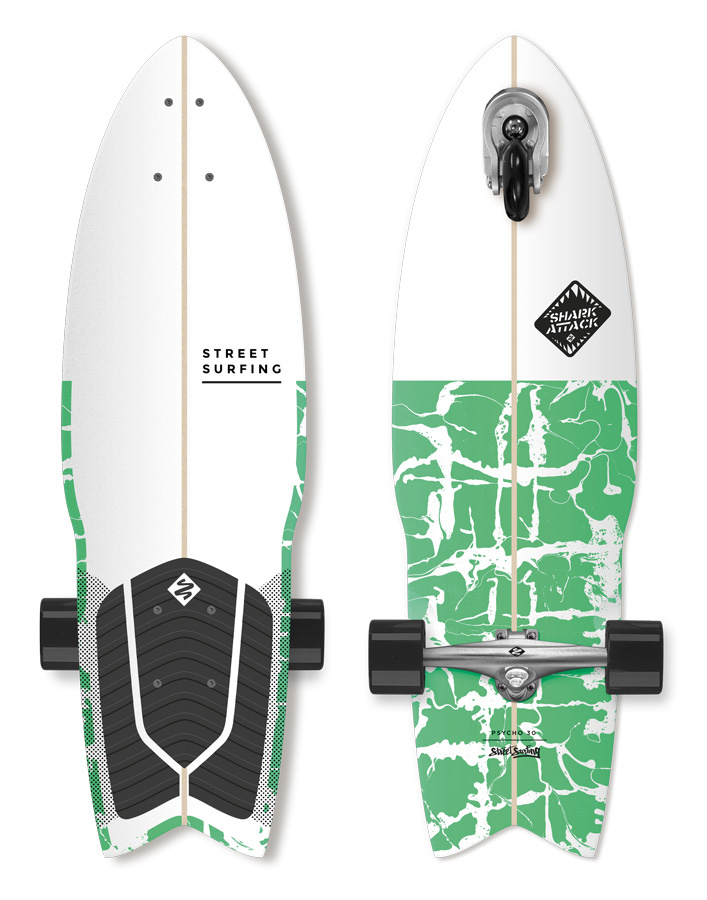 "Longboard Street Surfing SHARK ATTACK 30"" Psycho Green"